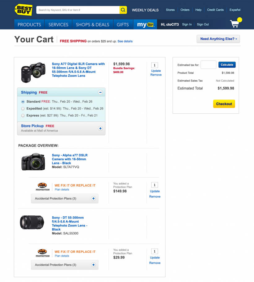 Laurie Walker » Best Buy Cart Responsive POC